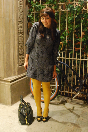 gray thrifted Tucker dress - black Forever 21 shoes - yellow HUE tights