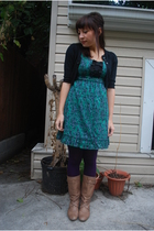 BB Dakota - kensiegirl dress - HUE tights - Steve Madden boots