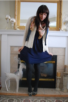 blue given by my sister dress - white vintage cardigan - blue f21 - gray Ellen T