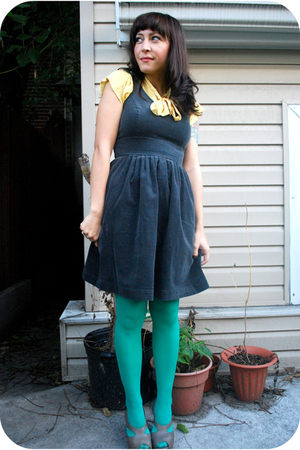 kensiegirl dress - vintage blouse - aa tights - seychelles shoes