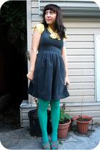 kensiegirl dress - vintage blouse - aa tights - seychelles shoes