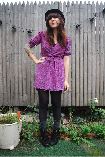 black Urban Outfitters hat - black seychelles boots - deep purple vintage dress
