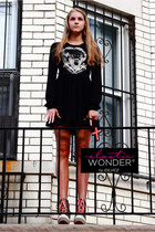 Bride Of Frankenstein Photo Printed Long Sleeve Peplum Mini Tunic Dress
