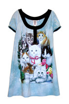 Kitten Cats Printed Printed Powder Blue Tie Dye Tunic Dress