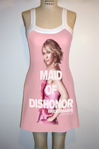 Bridesmaids Maid Of Dishonor Pink Mini Strap Dress