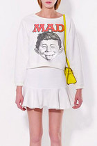 Organic Cotton Mad Alfred Face Print Fleece Sweatshirt Skirt Set XS, S, M, L, XL
