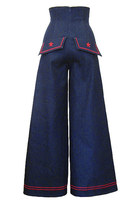 60s Pin Up Sailor High Waist Wide Leg Stretch Jeans Pants