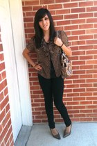 cheetah Jcpenny cardigan - black charlotterouse pants - cheetah Maurices heels