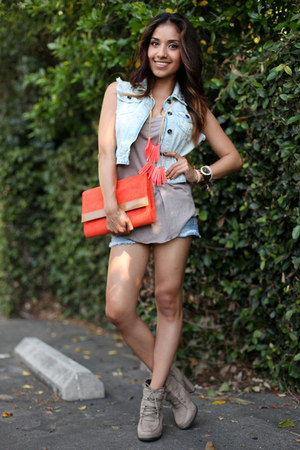 red H&M purse - sky blue Zara shorts - periwinkle American Rag top