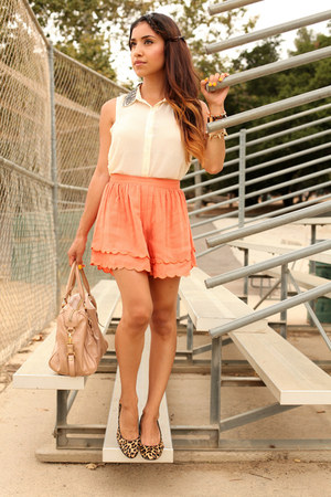 light orange scalloped dulcecandyxo shorts - cream Lush coat - peach Lodis bag