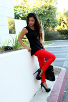 ruby red Old Navy pants - black just fab bag - black peplum Target top