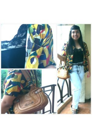 Forever21 jeans - Cole Haan bag - Moms owned blouse - top