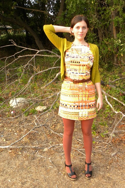 black madewell shoes - orange tracy reese dress - chartreuse JCrew sweater