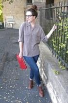 leather madewell boots - madewell jeans - Maya Star bag