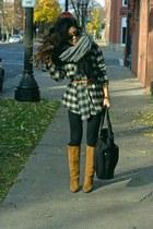 black wrap Zara top - tawny suede Diane Von Furstenberg boots
