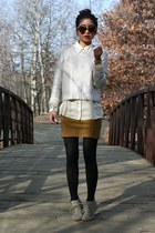 metallic H&M sweater - tortoise shell Karen Walker sunglasses