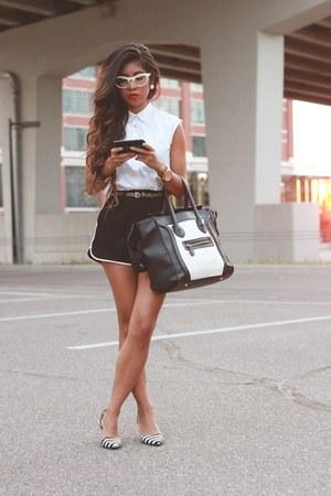 track shorts Lagence shorts - sleeveless Zara blouse - kitten sam edelman heels