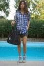 Blue-flannel-uniqlo-shirt-black-duffel-herschel-supply-co-bag