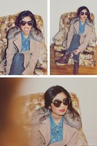 BB Dakota coat - ankle Target boots - tortoise shell Karen Walker sunglasses