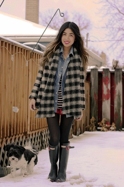 buffalo plaid Zara sweater - wellies Hunter boots