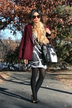 burgundy Forever 21 coat - striped BCBG skirt - colorblocked Zara pumps