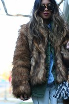 faux fur H&M coat - basketweave Zara flats