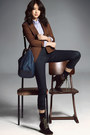 Dark-brown-boots-brown-guess-jacket-dark-brown-socks-blue-blouse-navy-pa