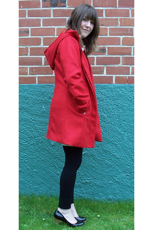 black long top - black I love Billy shoes - red shanton jacket - black tights