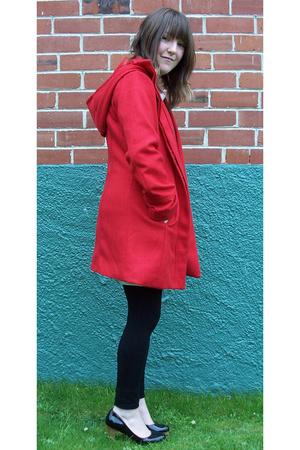 black long top - black I love Billy shoes - red shanton jacket - black tights