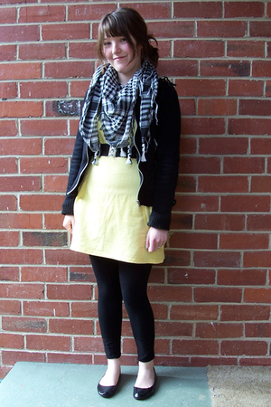 black thrifted jacket - black shoes - yellow thrifted dress - black leggings