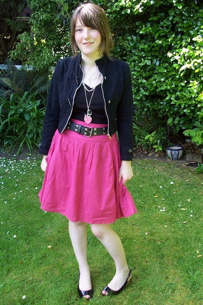 pink thrifted skirt - black thrifted jacket - black thrifted top