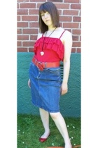 Kmart top - thifted skirt - Kmart shoes - thrifted belt