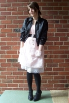 black thrifted jacket - pink Kmart dress - black thrifted belt