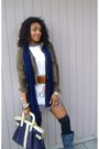 Gray-forever-21-dress-gray-boots-blue-purse