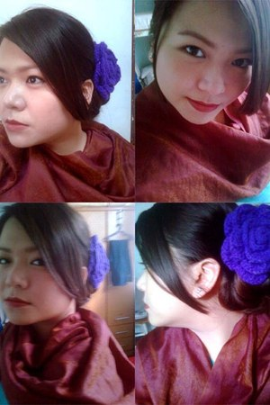 maroon maroon silk Scarf from India scarf - purple purple flamenco hair clamp ac