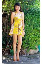 yellow dress - gold heels - black Prema watch