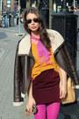 Ruby-red-handmade-skirt-brown-lindex-jacket-light-orange-lindex-sweater