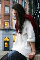 cream H&M Trend sweater - black Alexander Wang boots - gray Alexander Wang dress