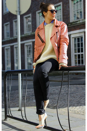 pink unknown brand leather jacket - black Diesel jeans - cream fair isle sweater