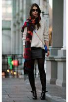 black Zara skirt - tan hope sweater