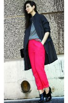 hot pink H&M Conscious Collection pants - dark gray H&M Trend coat