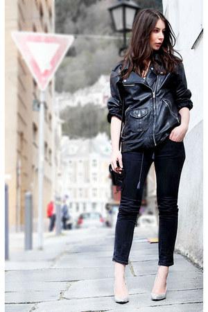 black Diesel jeans - black Malene Birger top - silver Zara heels
