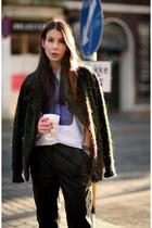 forest green Isabel Marant jacket - ivory Celine shirt