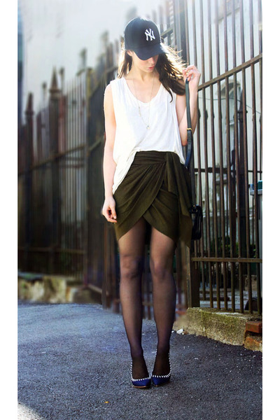army green Isabel Marant skirt - cream H&M top - navy Aldo heels