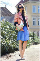 pink leather jacket - violet monky dress - silver Zara heels