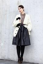 dark brown TOPSHOP Premium skirt - light brown fillipa k shirt