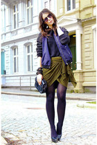 army green Isabel Marant skirt - navy H&M jacket - black handmade sweater