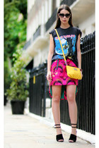 hot pink Alexander McQueen dress - yellow Marc by Marc Jacobs purse