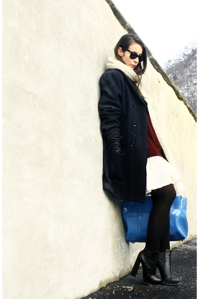 black wang boots - white H&M dress - navy D&G coat