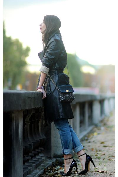 black Isabel Marant heels - black Burberry Prorsum coat - navy acne jeans